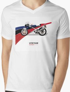 HONDA RC30 VFR750R TRIBUTE Mens V-Neck T-Shirt