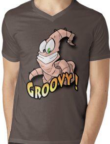 Groovy Worm  Mens V-Neck T-Shirt