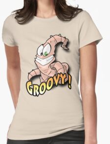 Groovy Worm  Womens Fitted T-Shirt
