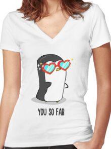 Fabulous Penguin! Women's Fitted V-Neck T-Shirt