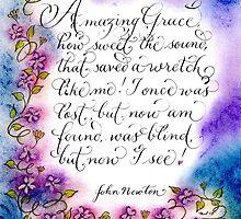 Amazing grace lyrics colorful calligraphy art by Melissa Goza