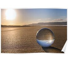 Glass Sphere on Beach Poster