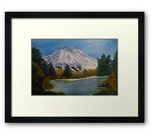 lake near mountain Framed Print