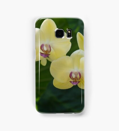Pale Yellow Orchids in Lush Jungle Green Samsung Galaxy Case/Skin