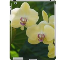 Pale Yellow Orchids in Lush Jungle Green iPad Case/Skin