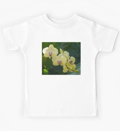 Pale Yellow Orchids in Lush Jungle Green Kids Tee