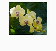 Pale Yellow Orchids in Lush Jungle Green Unisex T-Shirt