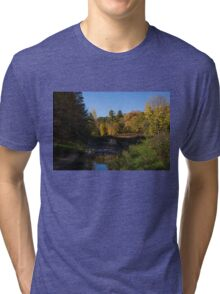 Rusty Little Bridge Complementing the Fall Colors Tri-blend T-Shirt