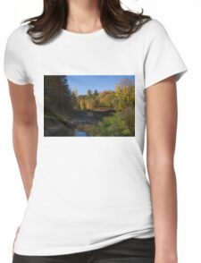 Rusty Little Bridge Complementing the Fall Colors Womens Fitted T-Shirt