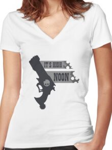 Its High Noon  Women's Fitted V-Neck T-Shirt
