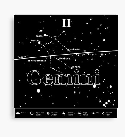 Gemini Star-Chart Canvas Print