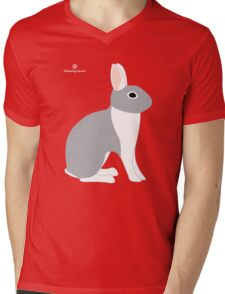 Lilac White Eared Rabbit Mens V-Neck T-Shirt