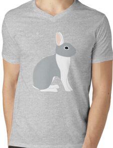 Lilac White Eared Rabbit Mens V-Neck T-Shirt