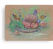 Awakening new baby mermaid by Renee Lavoie Canvas Print