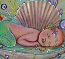 Awakening new baby mermaid by Renee Lavoie Sticker