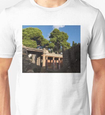 Herculaneum Ruins - Colorful Murals Courtyard Behind a Rough Stone Wall Unisex T-Shirt