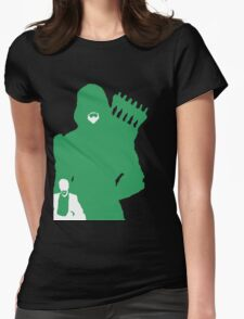 Green Arrow Silhouette Womens Fitted T-Shirt