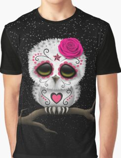 Cute Pink Day of the Dead Sugar Skull Owl Graphic T-Shirt
