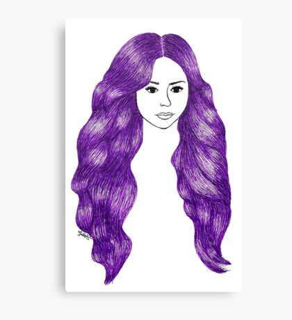 Purple Hair Girl Drawing Canvas Print