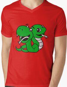 snakes 2 team few buddies sweet little cute baby child snake comic cartoon girl Mens V-Neck T-Shirt