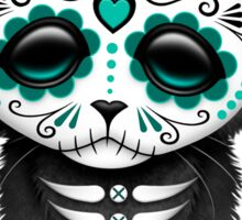 Cute Teal Blue Day of the Dead Kitten Cat Sticker