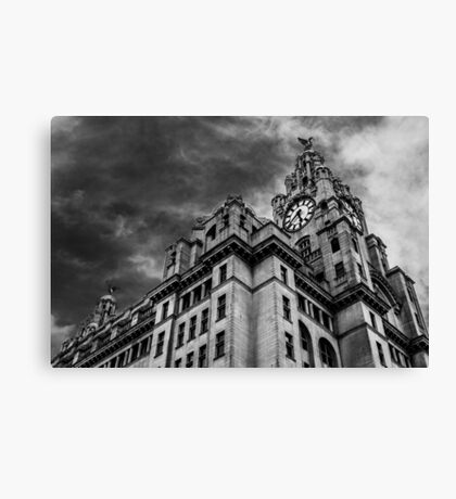 Looking up at the Liver Building. Canvas Print