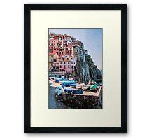 Manarola Boats Cinque Terre Italy Framed Print
