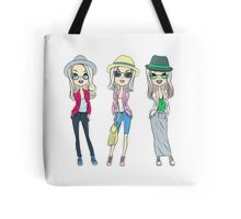 Fashion hipster girls in hats Tote Bag