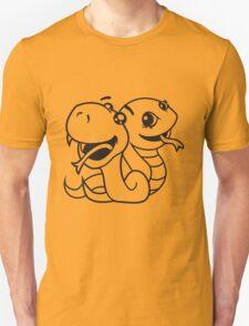 snakes 2 team few buddies sweet little cute baby child snake comic cartoon girl Unisex T-Shirt
