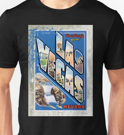 Vintage Las Vegas Nevada Greetings Post Card Unisex T-Shirt