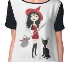 Girl witch with black cat Chiffon Top