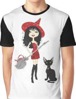 Girl witch with black cat Graphic T-Shirt