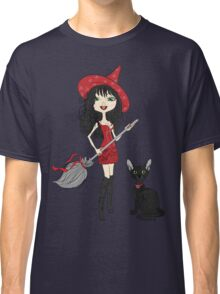 Girl witch with black cat Classic T-Shirt
