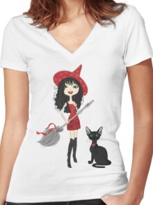 Girl witch with black cat Women's Fitted V-Neck T-Shirt