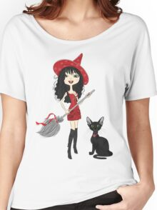 Girl witch with black cat Women's Relaxed Fit T-Shirt