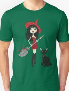 Girl witch with black cat Unisex T-Shirt