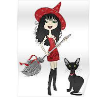 Girl witch with black cat Poster