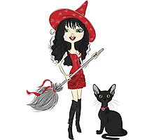 Girl witch with black cat Photographic Print