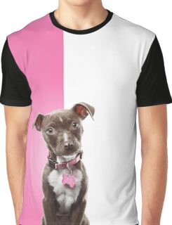 Chocolate Puppy on Pink Graphic T-Shirt