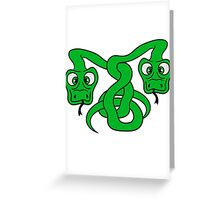 2 funny long comic cartoon snakes team buddies couple entwined Greeting Card