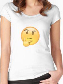 Thinking Emoji Women's Fitted Scoop T-Shirt