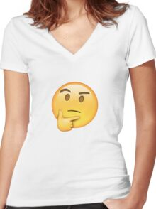 Thinking Emoji Women's Fitted V-Neck T-Shirt