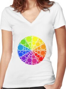 Color wheel palette or color circle isolated. The physical representation of color transitions and HSB. Women's Fitted V-Neck T-Shirt
