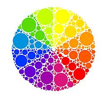 Color wheel palette or color circle isolated. The physical representation of color transitions and HSB. Photographic Print