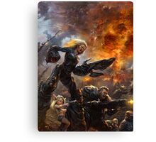 Parents are escorting their child to the postapocalyptical kindergarten  Canvas Print