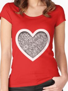 Black and white pattern with roses Women's Fitted Scoop T-Shirt