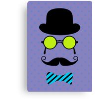 Little Man Hipster Mustache Birthday Party Canvas Print