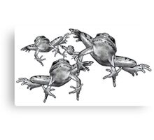 Leaping Frogs, Original Pencil Drawing Canvas Print