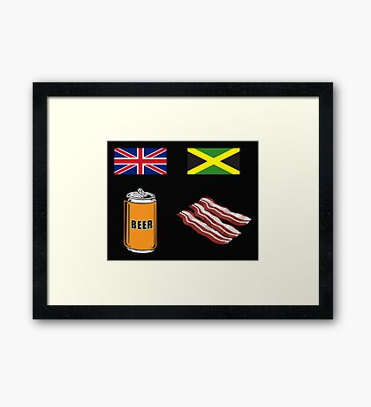 "English ""Beer-Can"" = Jamaican ""Bacon"" Framed Print"