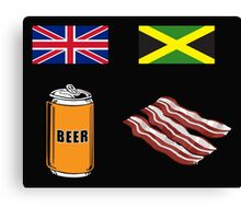 "English ""Beer-Can"" = Jamaican ""Bacon"" Canvas Print"